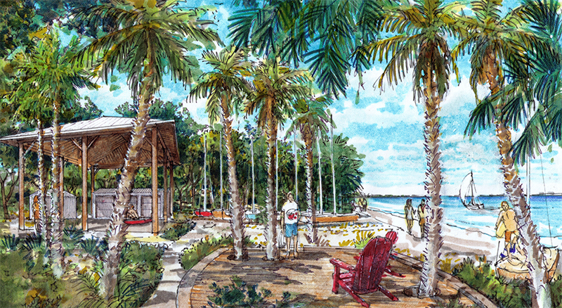 An artist's conception of the finished Caples waterfront restoration project, expected to be completed in April.