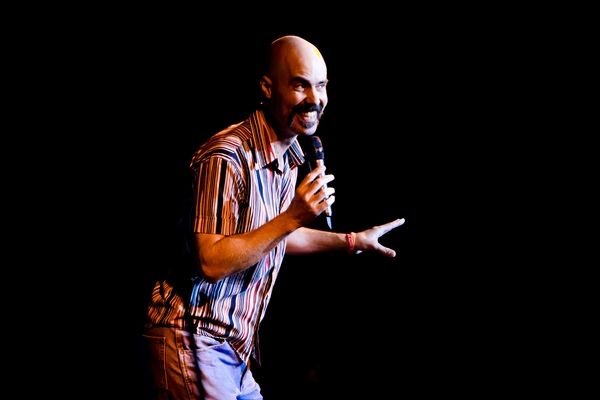 Comedian and New College alum Ashely Strand '96 on stage at McCurdy's Comedy Club Feb. 1.